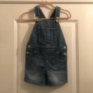 Little Girl Baby Gap Denim Short Overalls 3T NWOT
